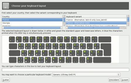 Installer – keyboard settings